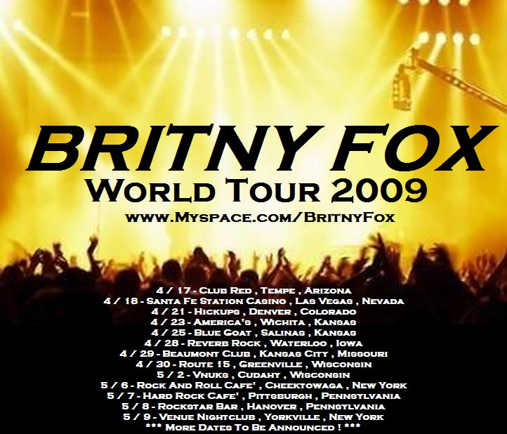 Britny Fox Starts 2009 World Tour While Finishing Up New CD