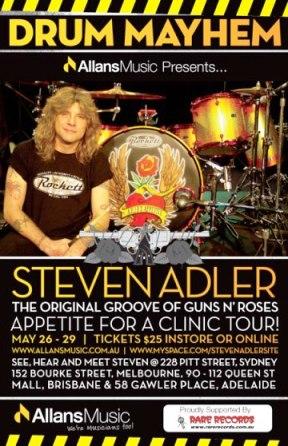 Steven Adler Australian Drum Clinic Sells Out