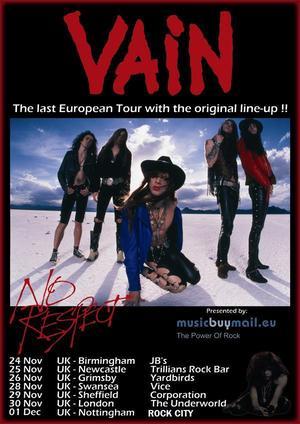 Vain Schedule 20th Anniversary UK/European Tour