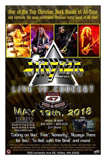 Stryper live at Route 47 Pub And Grub in Fridley, Minnesota