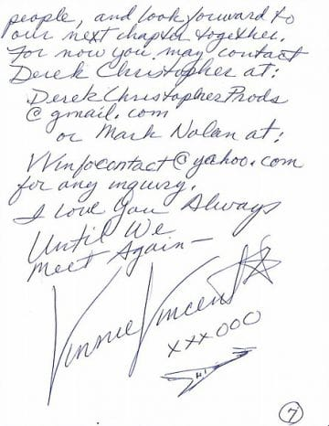 Vinnie Vincent provides handwritten thank you letter but