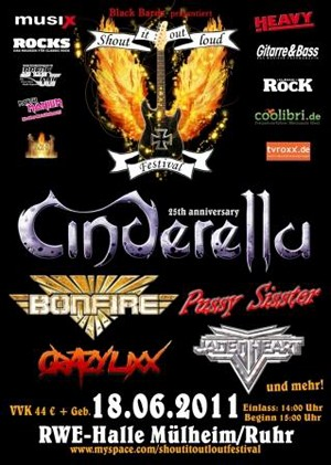 Cinderella Amd Bonfire Headlining Germany's Shout It Out Loud Festival