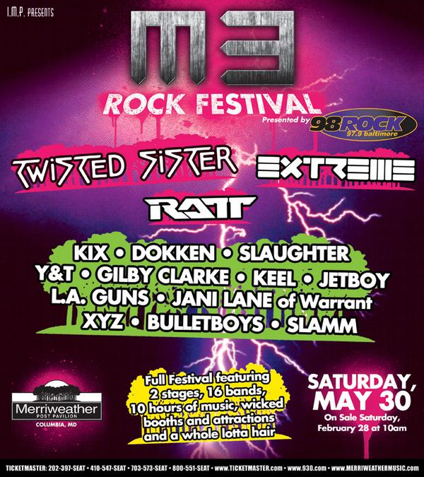 Twisted Sister, Ratt And Extreme Headlining M3 Rock Festival