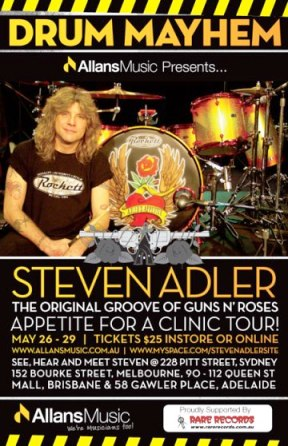 Steven Adler Australian Drum Clinic Sells Out