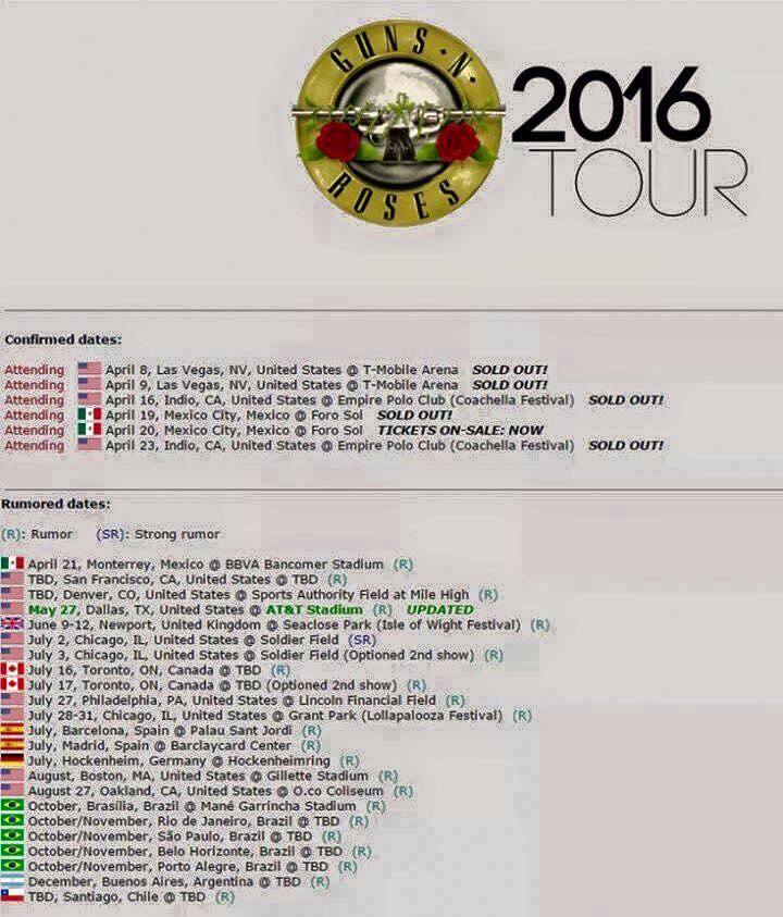 GNR tour dates