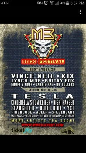 M3 Rock Festival line-up 2016