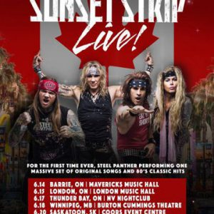 Steel Panther announce nine new 'Sunset Strip Live' tour dates throughout Canada